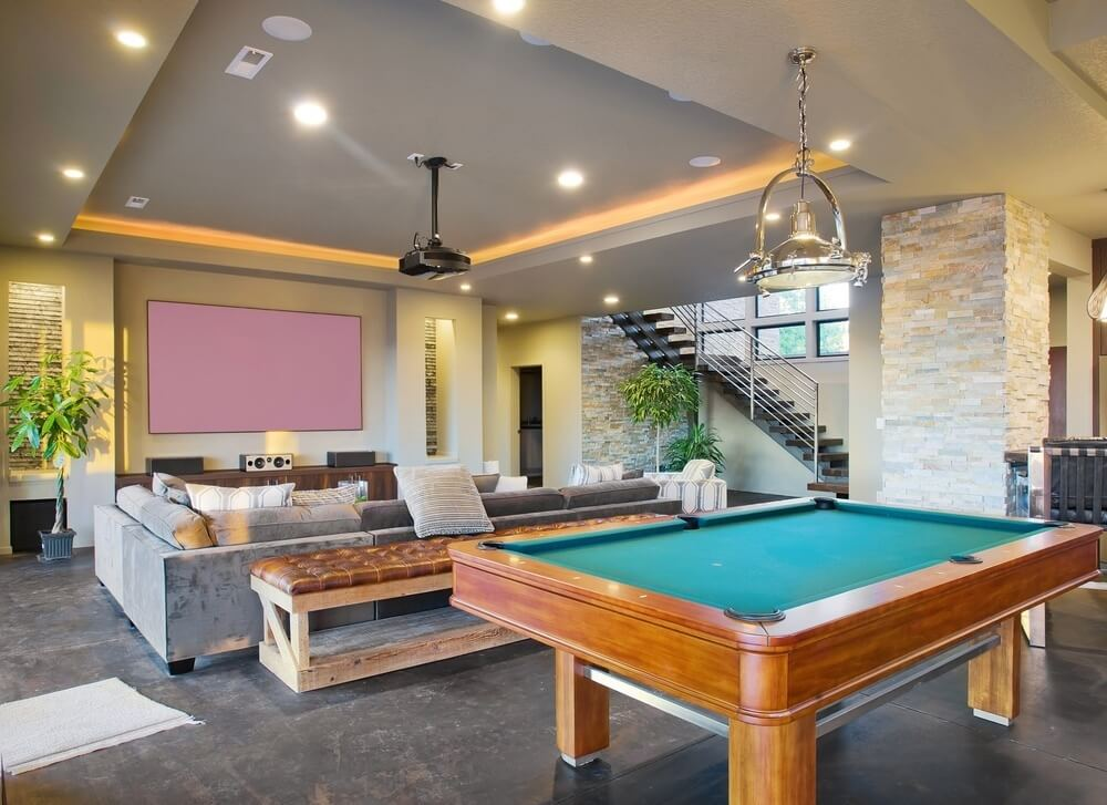 game room with home theater system and projector installation. beautiful ideas. Home Design Ideas
